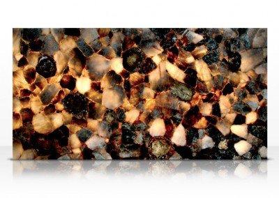 Fossilized smoky quartz backlit