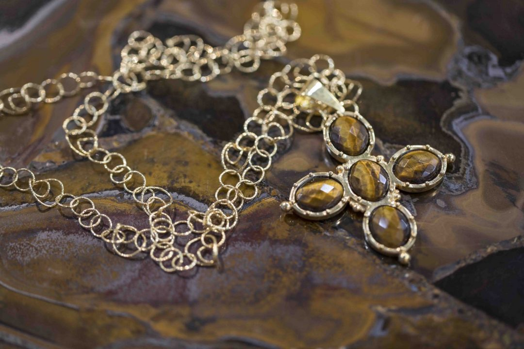 Baroque Necklace-Tiger Eye Gold