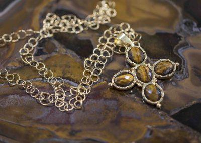 Baroque Necklace-Tiger Eye Gold